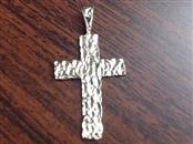 """1.25"""" NUGGET CROSS PENDANT CHARM REAL 14K GOLD CHRISTIAN RELIGIOUS"""